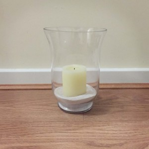 hurricane vase with sand
