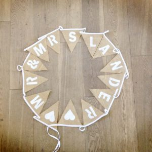 Personalised bunting £8 for Mr & Mrs, £2 each additional flag. Made to required length.