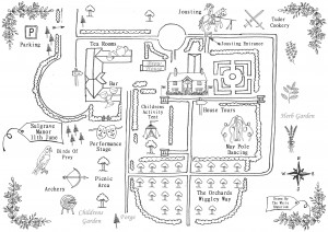 Hand Drawn Map For Sulgrave Manor Tudor Fair