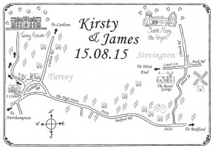 Directional Hand Drawn Map For Wedding Invite