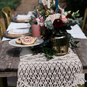 Macrame Table Runner Available To Hire.