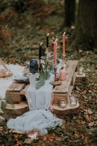 styled tablescape in woodland