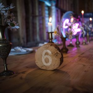 Rustic log slice table numbers to hire