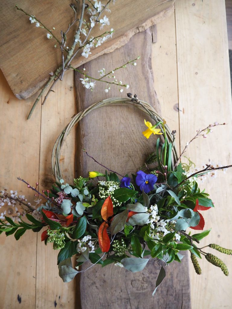 Make your own seasonal spring wreath from scratch.