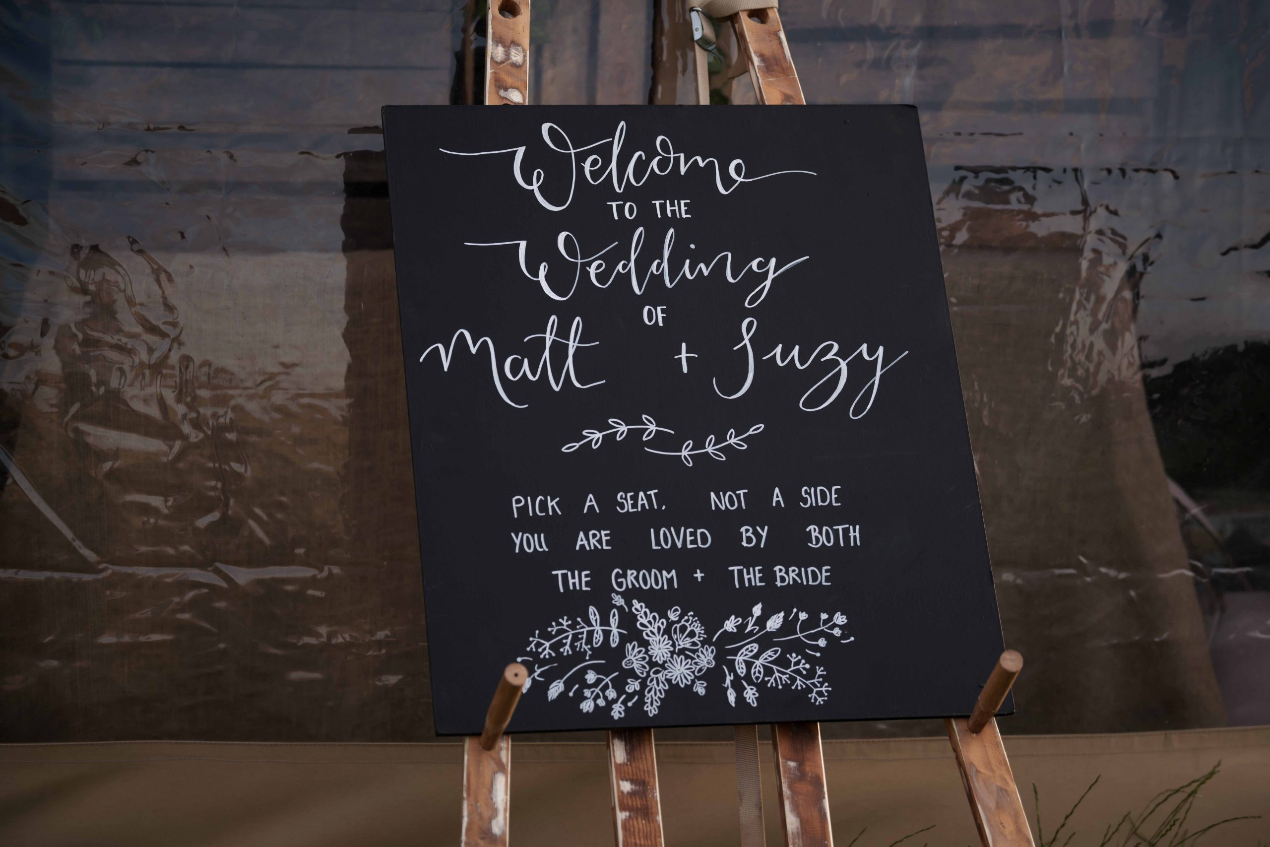 Welcome to our wedding Calligraphy Chalk Board Sign
