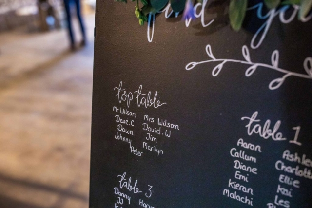Chalkboard Table Plan Close Up Detail