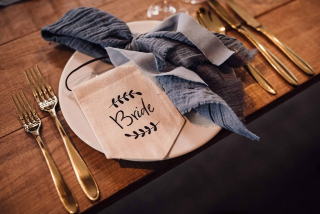 Considered wedding place settings.