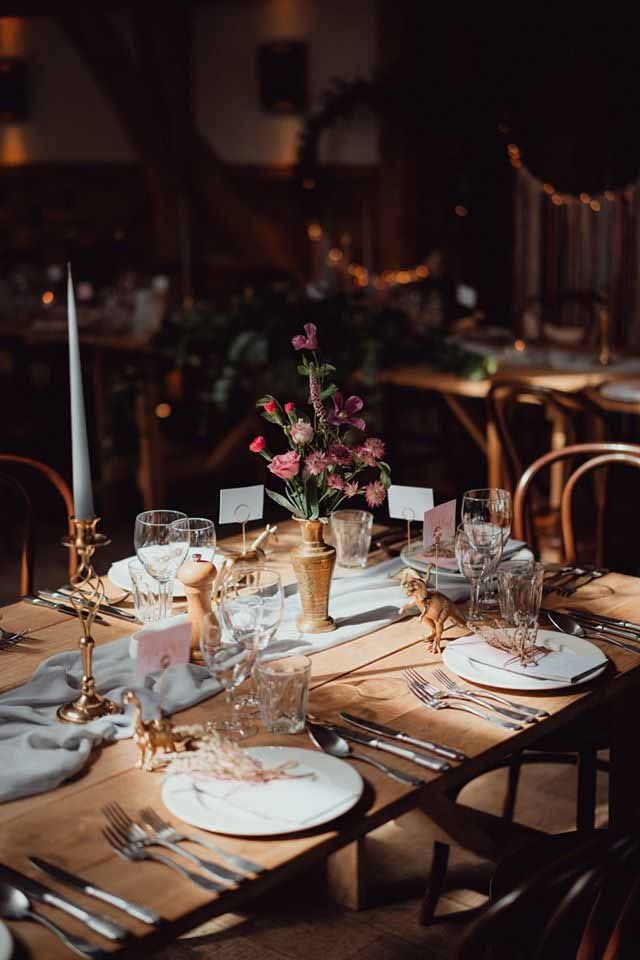 Table details with brass vessels and brass candle sticks.