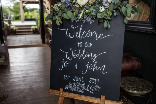 Welcome to our wedding calligraphy chalkboard sign.