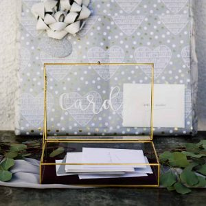Brass and Glass Box. With calligraphy writing on. Used to collect cards.